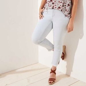 LOFT Plus Modern Slit Frayed Skinny Crop Jeans